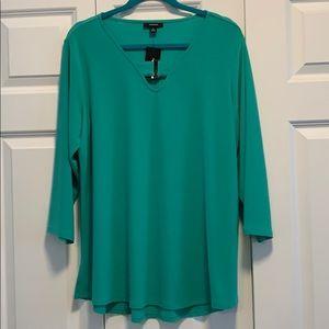 NWT Alfani Green 3/4 Sleeve Blouse